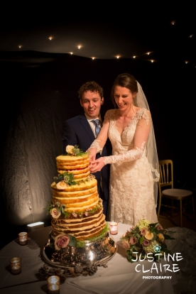 Cake cutting at Amberley castle winter wedding
